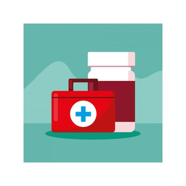 Kit de primeiros socorros médico, dia da saúde Vetor Premium