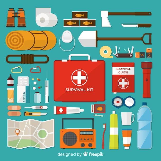 Kit de sobrevivência de emergência com design plano Vetor grátis