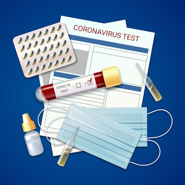 Kit de teste de coronavírus e máscaras médicas Vetor grátis