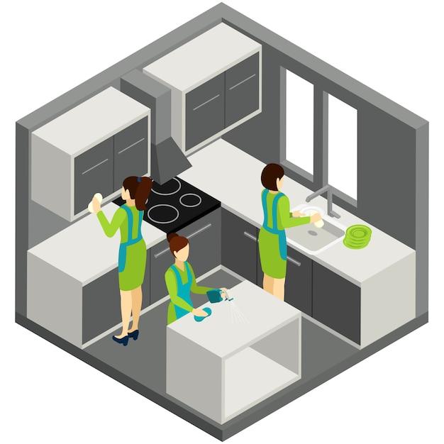 Kitchen cleaning household ajuda pictograma isométrico Vetor grátis
