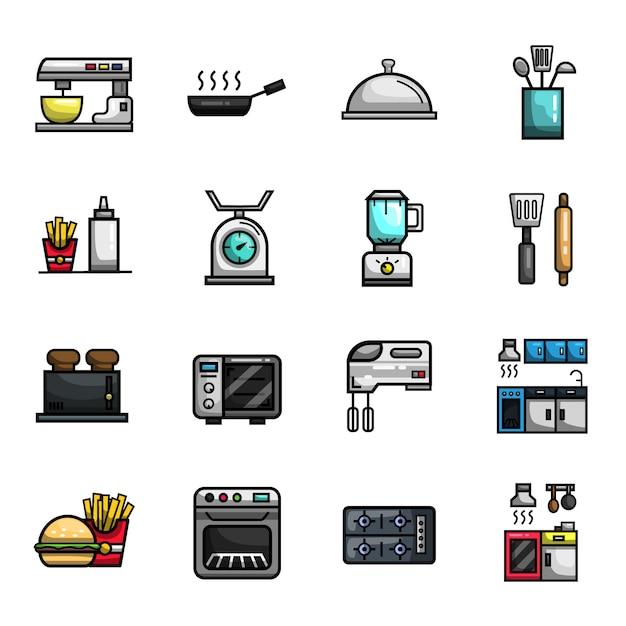 Kitchen cooking bakery restaurant elements conjunto de ícones de cor cheia Vetor Premium