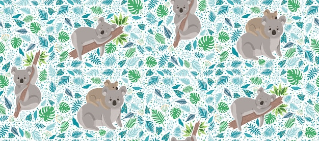 Koala bonito cercado por folhas tropicais Vetor Premium
