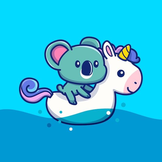 Koala bonito com natação ring unicorn icon illustration. conceito de ícone de verão animal isolado. estilo cartoon plana Vetor Premium