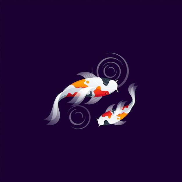 Koi peixe logotipo design vector ilustration Vetor Premium