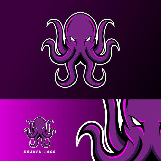 Kraken polvo lula mascote esporte jogos esport logotipo modelo para time de esquadrão Vetor Premium