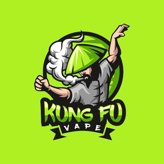 Kungfu vape logo design pronto para uso Vetor Premium