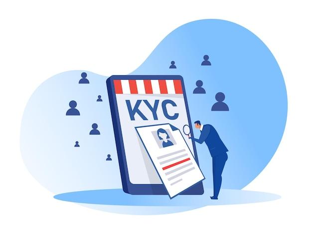 Kyc ou conheça seu cliente com negócios verificando a identidade de seus clientes. ilustrador de conceitos Vetor Premium
