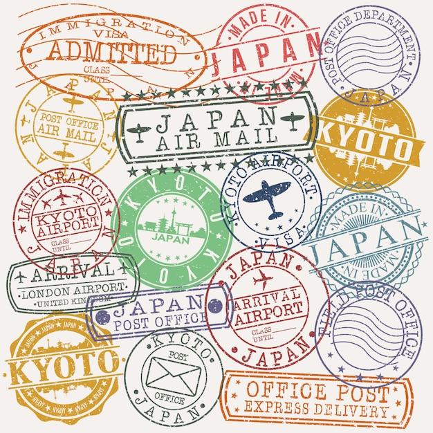 Kyoto japan conjunto de desenhos de viagens e negócios carimbo Vetor Premium