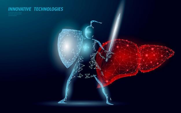 L escudo humano fígado khight proteger. Vetor Premium