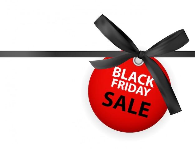Labei de venda de sexta-feira negra com arco e fita isolado no branco Vetor Premium