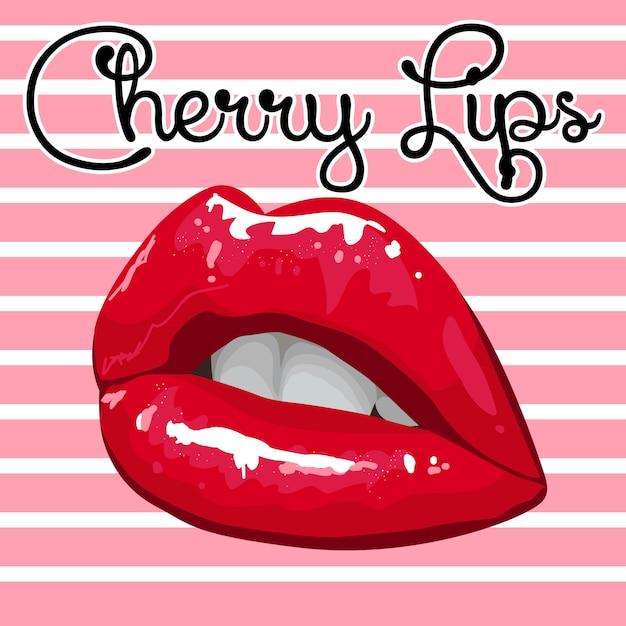Lábios de cereja brilhantes sobre um fundo listrado rosa Vetor Premium