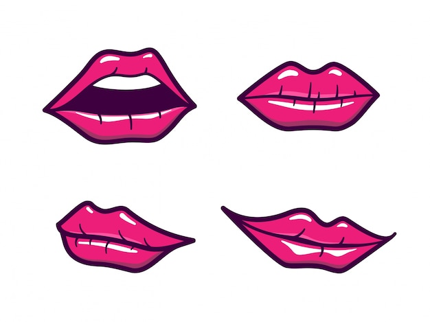 Labios De Vetores Com Maquiagem Rosa Em Estilo De Desenho Animado