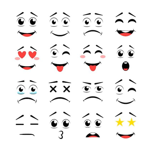 Lábios e olhos com diferentes expressões Vetor Premium