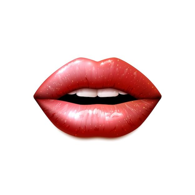 Lábios femininos realistas Vetor grátis