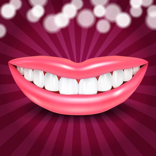 Lábios sorrindo com luzes de discoteca Vetor grátis