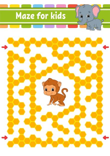 Labirinto com macaco e elefante Vetor Premium