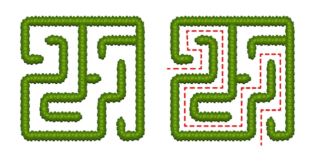 Labirinto de bush de jogo de lógica de educação para crianças. encontre o caminho certo. labirinto quadrado simples isolado no fundo branco. com a solução. ilustração vetorial Vetor Premium