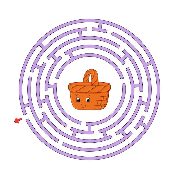Labirinto de círculo engraçado. Vetor Premium