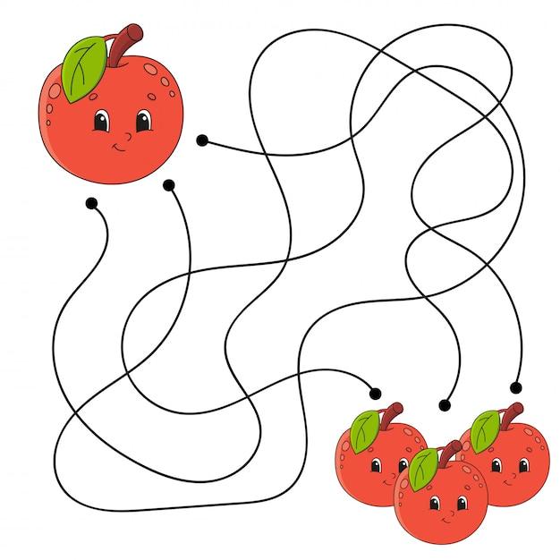 Labirinto de maçã para crianças planilha Vetor Premium