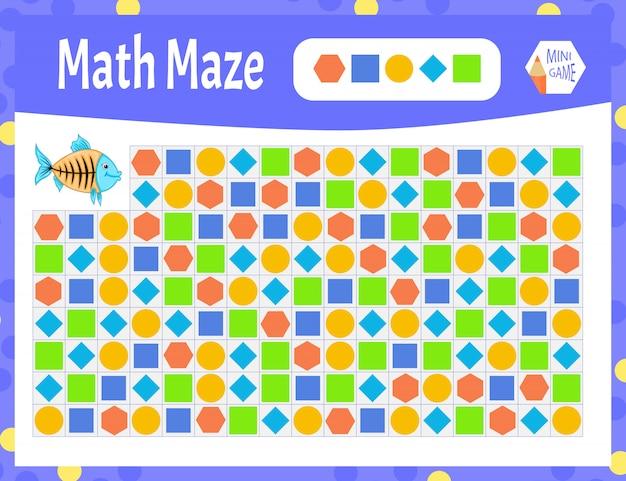 Labirinto de matemática é um mini-jogo para crianças. estilo dos desenhos animados. Vetor Premium