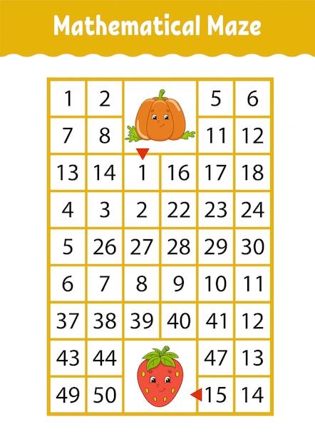 Labirinto de matemática. jogo para crianças. labirinto engraçado. planilha de desenvolvimento de educação. Vetor Premium