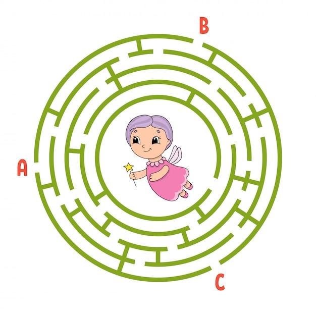 Labirinto do círculo. jogo para crianças. Vetor Premium