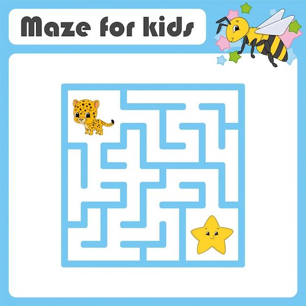 Labirinto engraçado. jogo para crianças. quebra-cabeça para crianças. Vetor Premium