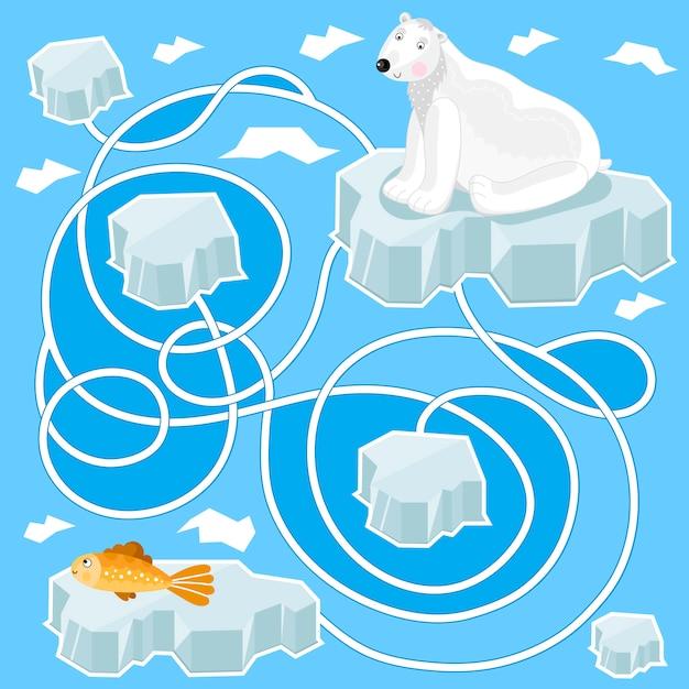 Labirinto, jogo de lógica para crianças Vetor Premium