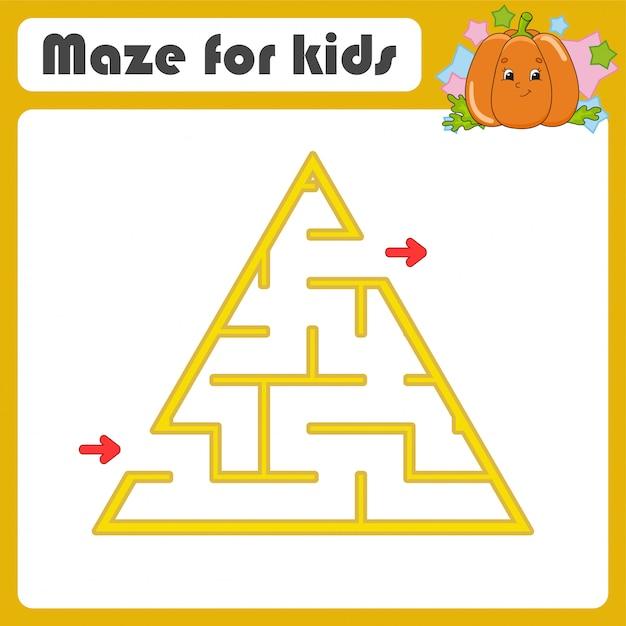 Labirinto. jogo para crianças. labirinto engraçado. planilha de desenvolvimento de educação. Vetor Premium