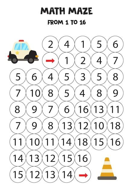 Labirinto matemático com carro de polícia e cone de trânsito. conte até 16. jogo para impressão para crianças. Vetor Premium