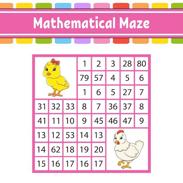 Labirinto matemático. jogo para crianças. número labirinto. planilha de desenvolvimento de educação. Vetor Premium