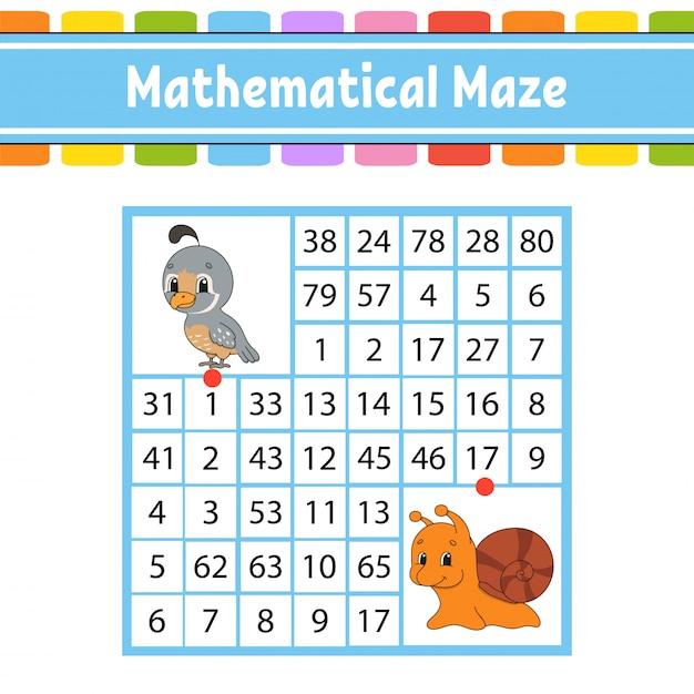 Labirinto matemático. jogo para crianças. Vetor Premium