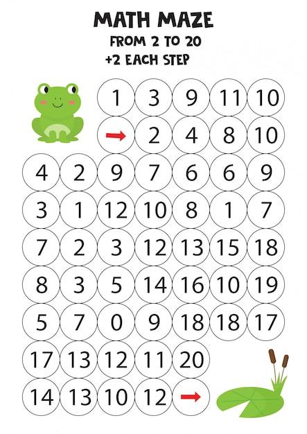 Labirinto matemático para crianças. sapo verde e nenúfar. Vetor Premium