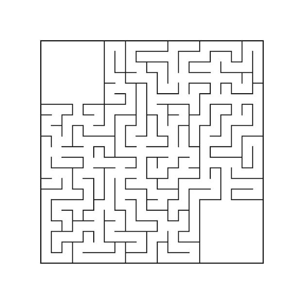 Labirinto quadrado abstrato. Vetor Premium