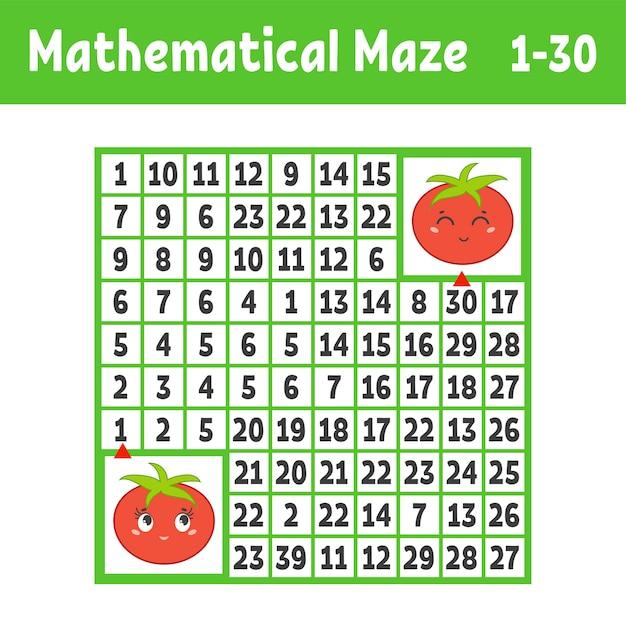 Labirinto quadrado colorido matemático. ajude um tomate a chegar ao outro. Vetor Premium