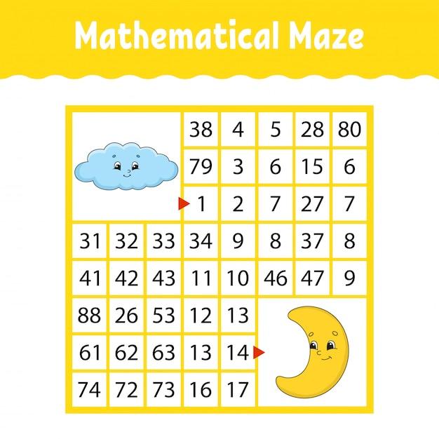 Labirinto quadrado colorido matemático. Vetor Premium