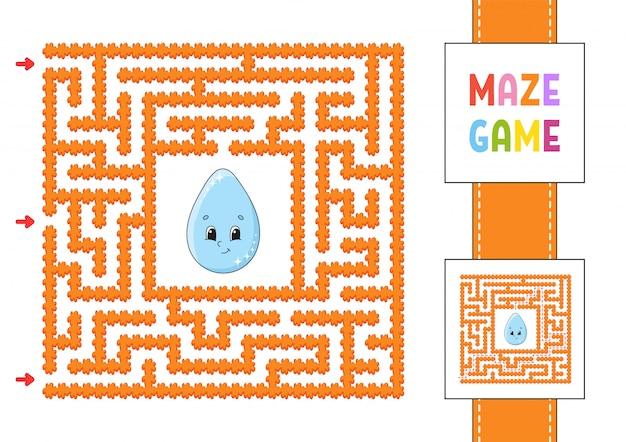 Labirinto quadrado engraçado. jogo para crianças. Vetor Premium