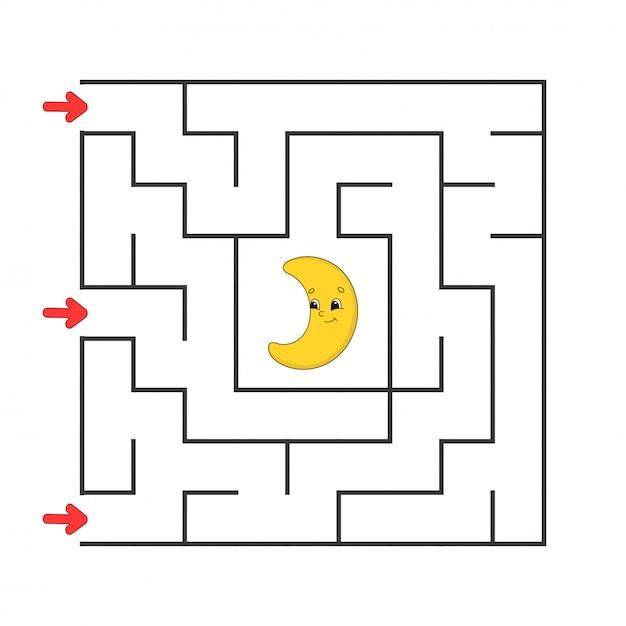 Labirinto quadrado engraçado. Vetor Premium