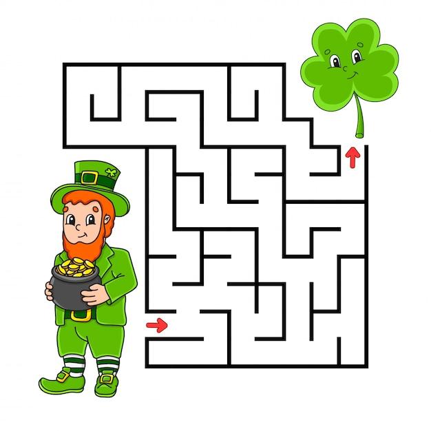Labirinto quadrado. jogo para crianças. duende e trevo. quebra-cabeça para crianças. enigma do labirinto. Vetor Premium