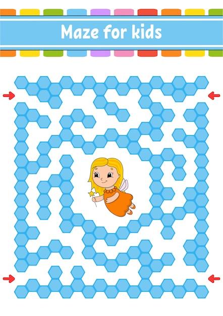 Labirinto retangular de cores. jogo para crianças. labirinto engraçado. Vetor Premium