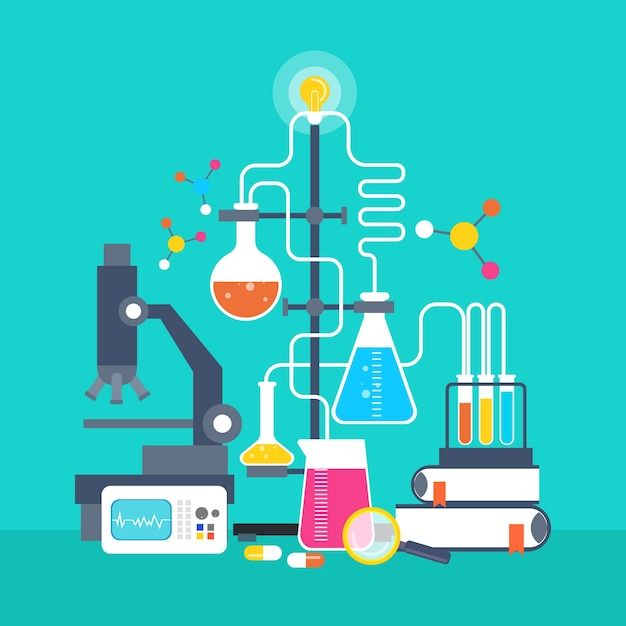 Laboratório de ciências de design plano Vetor grátis
