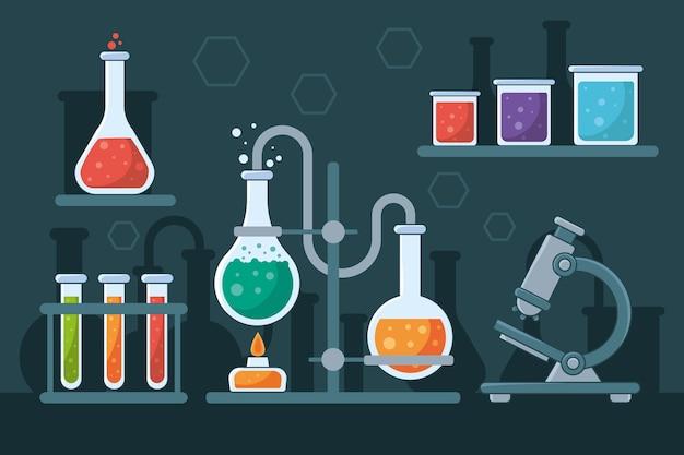 Laboratório de ciências desenhado à mão Vetor grátis