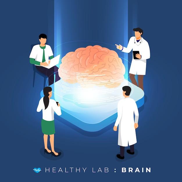 Laboratório de conceito isométrico por meio de análise médica saudável sobre o cérebro. educação em ciência em equipe. ilustrar. Vetor Premium