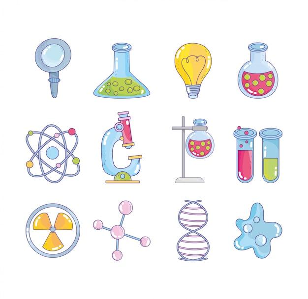 Laboratório de pesquisa científica lupa balão átomo molécula dna genética nuclear bactérias ícones Vetor Premium