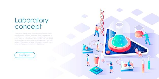 Laboratório de pesquisa de página de destino isométrica ou conceito plano de medicina Vetor Premium