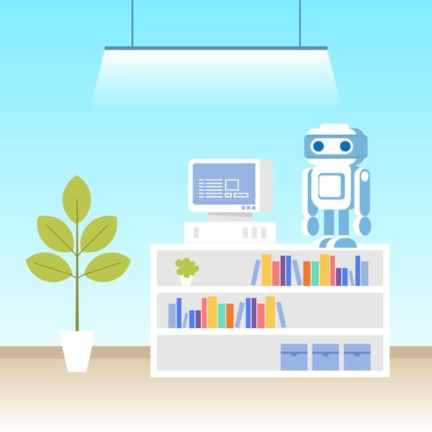 Laboratório de programação de robôs Vetor Premium
