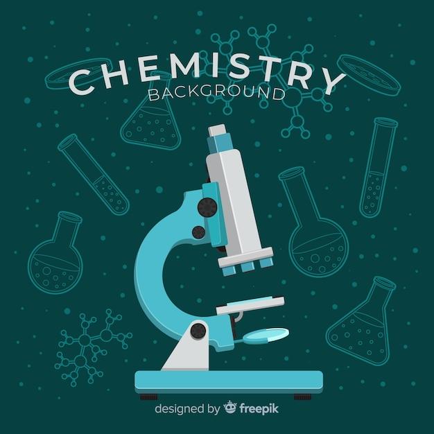 Laboratório de química plana com frascos Vetor Premium