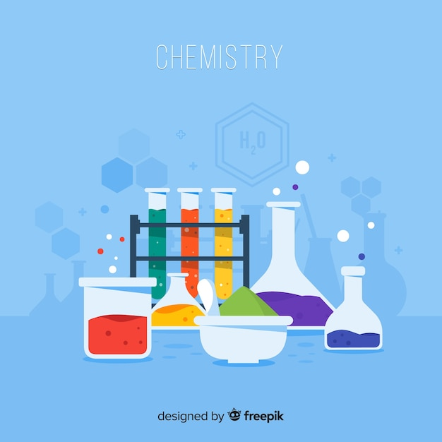 Laboratório de química plana com frascos Vetor grátis