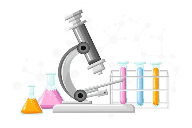 Laboratório médico com tubos de vidro Vetor Premium