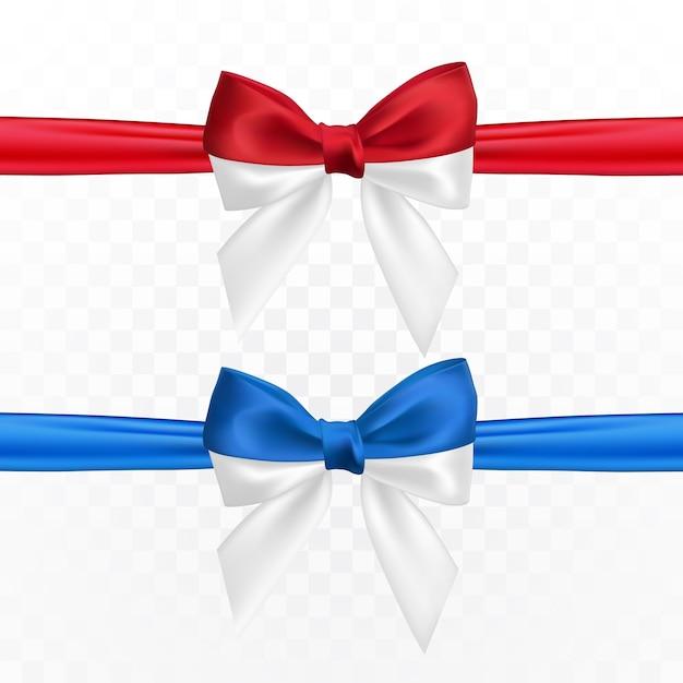 Laço branco vermelho branco e azul realista. elemento para presentes de decoração, saudações, feriados. Vetor Premium